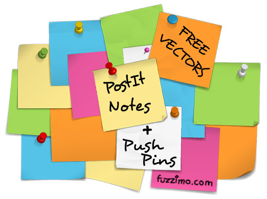 Free Vector Post it Notes + Push Pins | fuzzimo