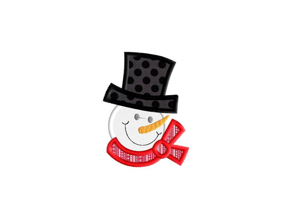 Cute Snowman Face Embroidery Applique Instant By AppliqueDownload ...