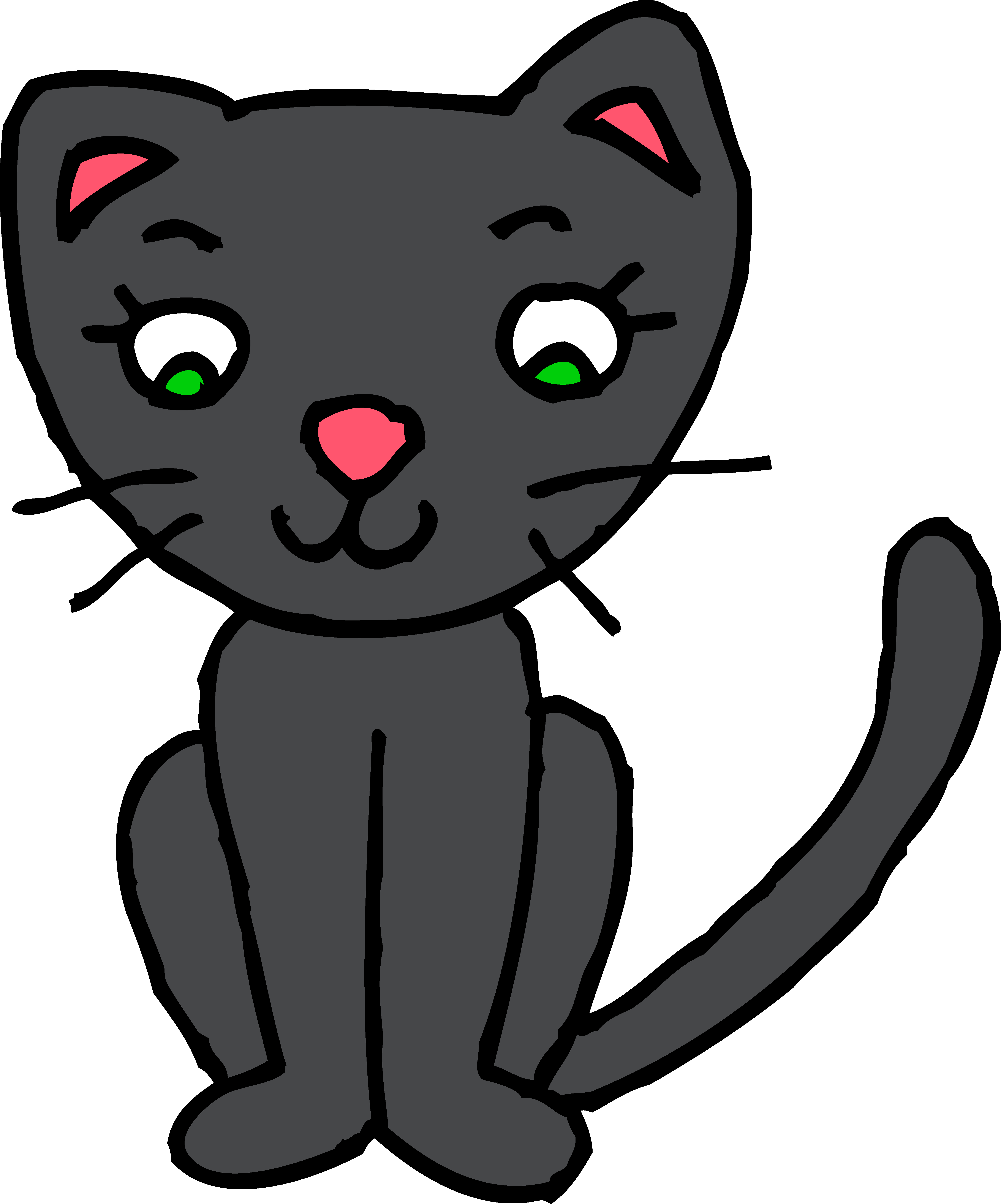 Cute Black Kitty Cat Clipart - Free Clip Art