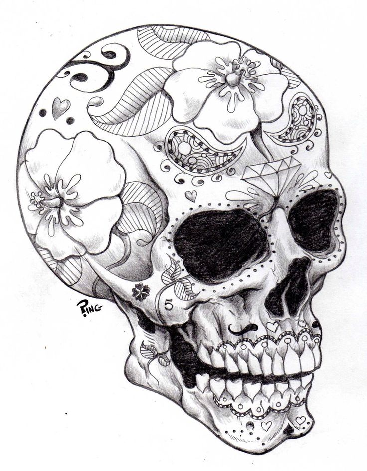 Sugarskull black and white #tattoo #sugarskull | Tattoos | Pinterest
