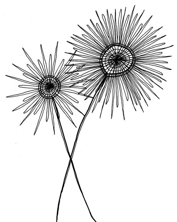 Black And White Drawing Simple Modern Fantastic Etsy Er