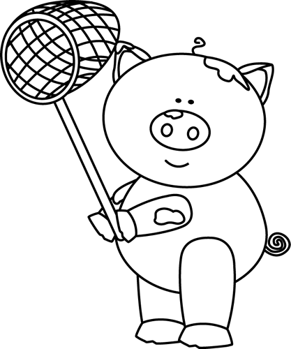 clipart pig black and white - photo #16