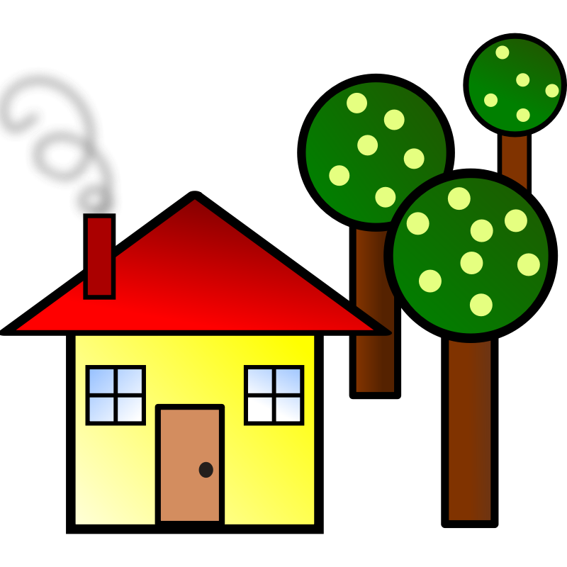 Clipart - house with trees