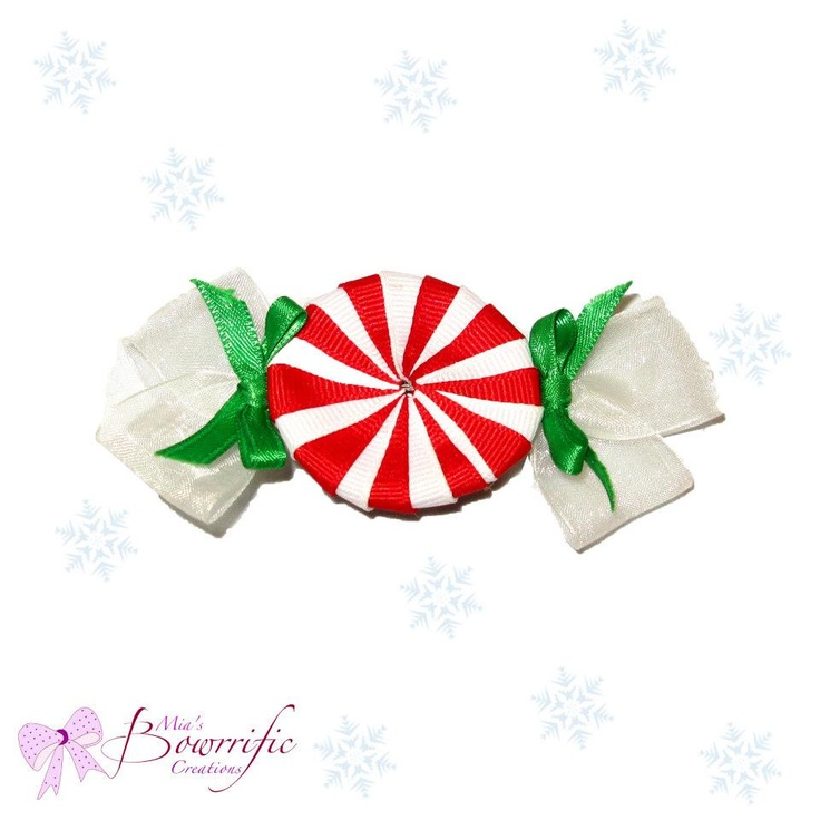 peppermint candy hair clip | mia's bowrrific creations | Pinterest