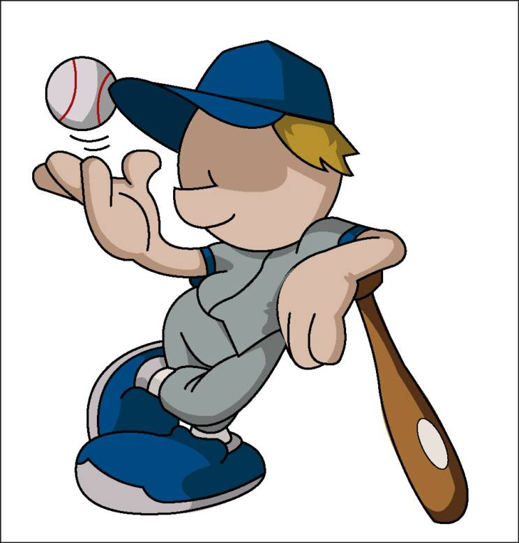 Baseball player cartoon kid
