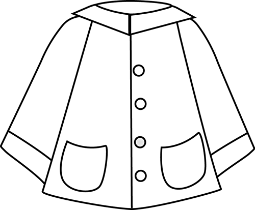 Black and White Raincoat Clip Art - Black and White Raincoat Image