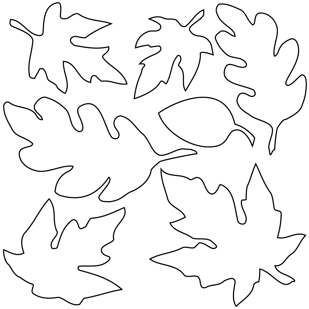 Co coloring page for leaves - Autumn Leaves Clip Art Black And White T O N