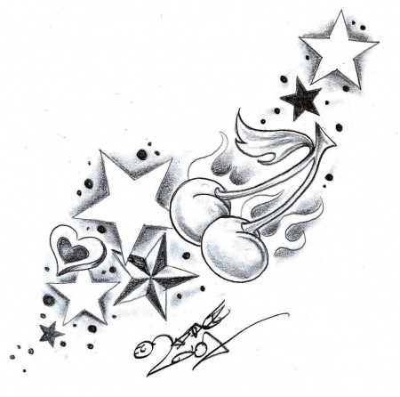 Stars And Swirls Tattoo Designs