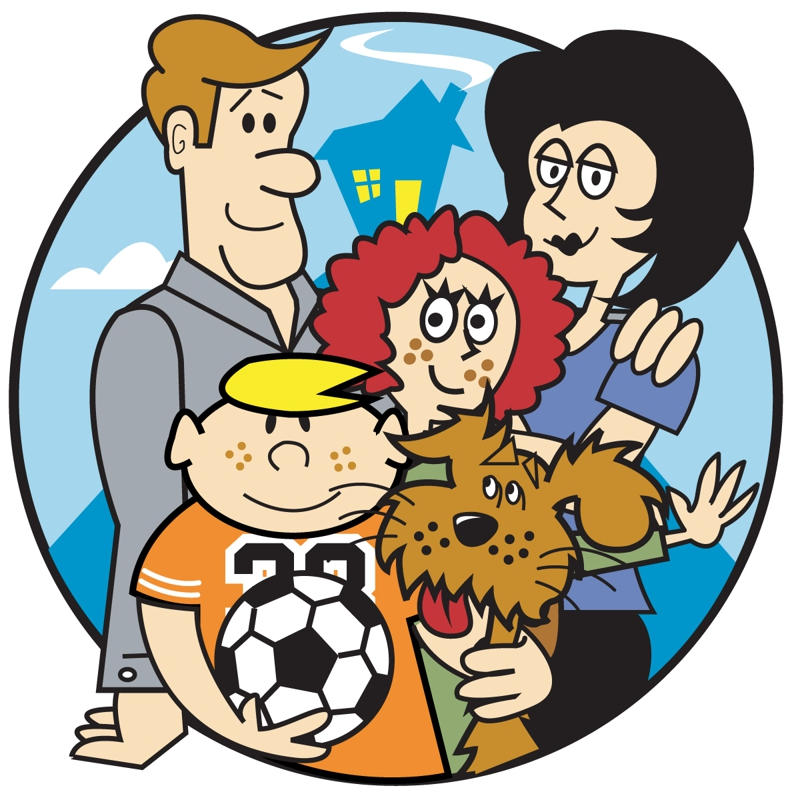 Cartoon Family Of 5 And A Dog | lol-