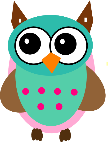 Aqua & Pink Owl SVG Downloads - Cartoon - Download vector clip art ...