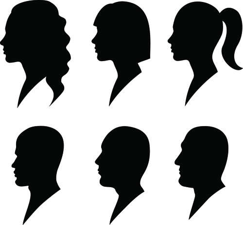 Creative man and woman silhouettes vector set 05 - Vector People ...