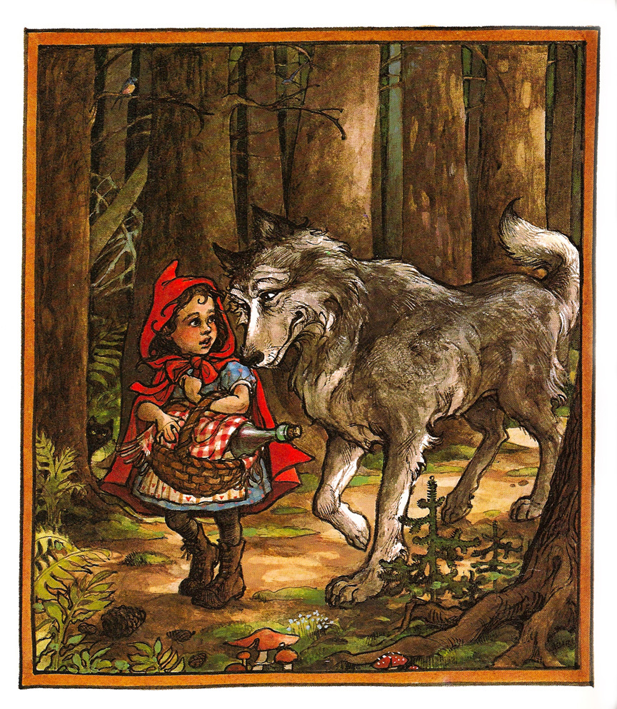 litte red riding hood Little red riding hood from politically correct bedtime stories by james finn garner red riding hood walked on along the main path but, because his status outside society had freed him from slavish adherence to linear, western-style thought, the wolf knew a quicker route to grandma's house.