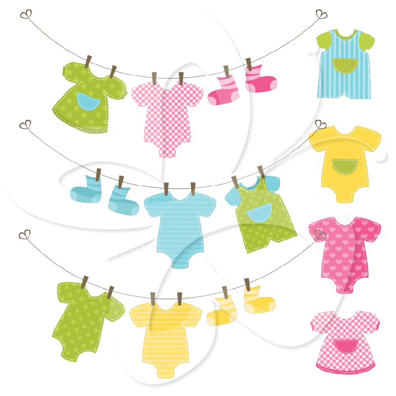 Baby clothesline clipart for Baby clothesline decoration baby shower