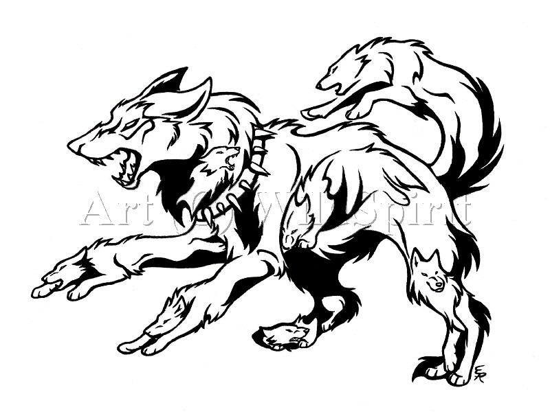 Lineart Wolf Tattoo : Running wolf tattoo cliparts