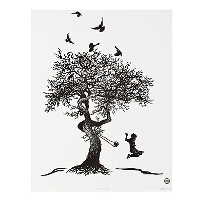 JUMP OFF - MATTHEW AMEY | tattoo art, rope swing, tree, black ...