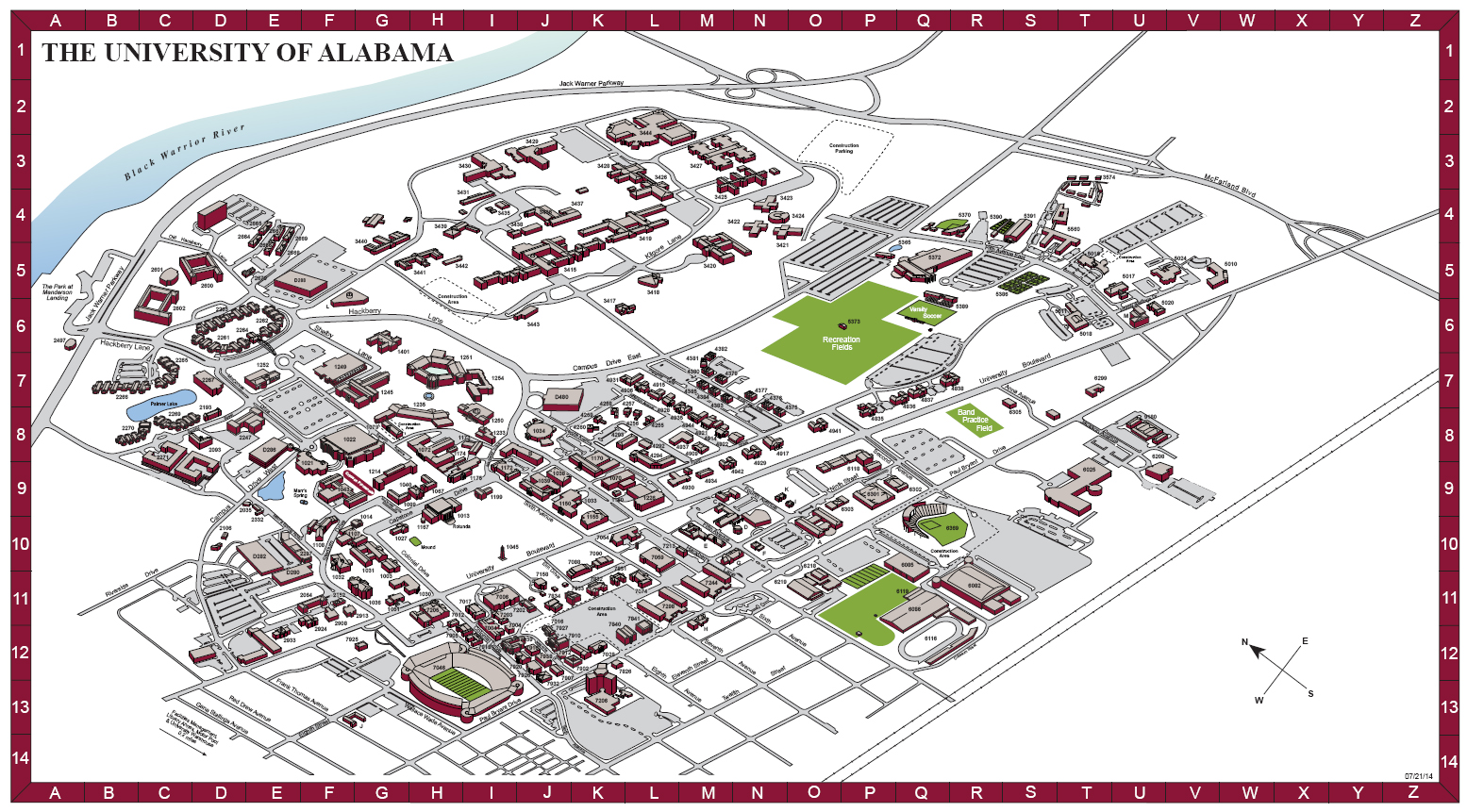 Full Campus Map  The University Of Alabama  Cliparts