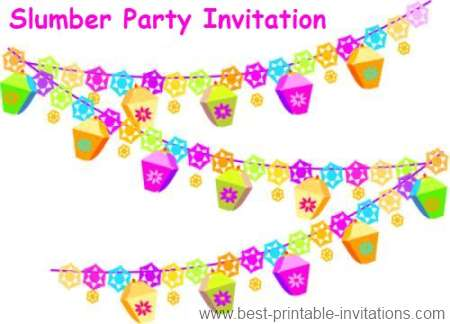 Printable Slumber Party Invitations