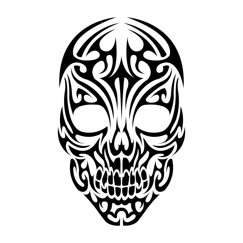Unique Black Tribal Skull Tattoo Design