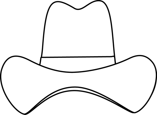 Black and White Simple Cowboy Hat Clip Art - Black and White ...