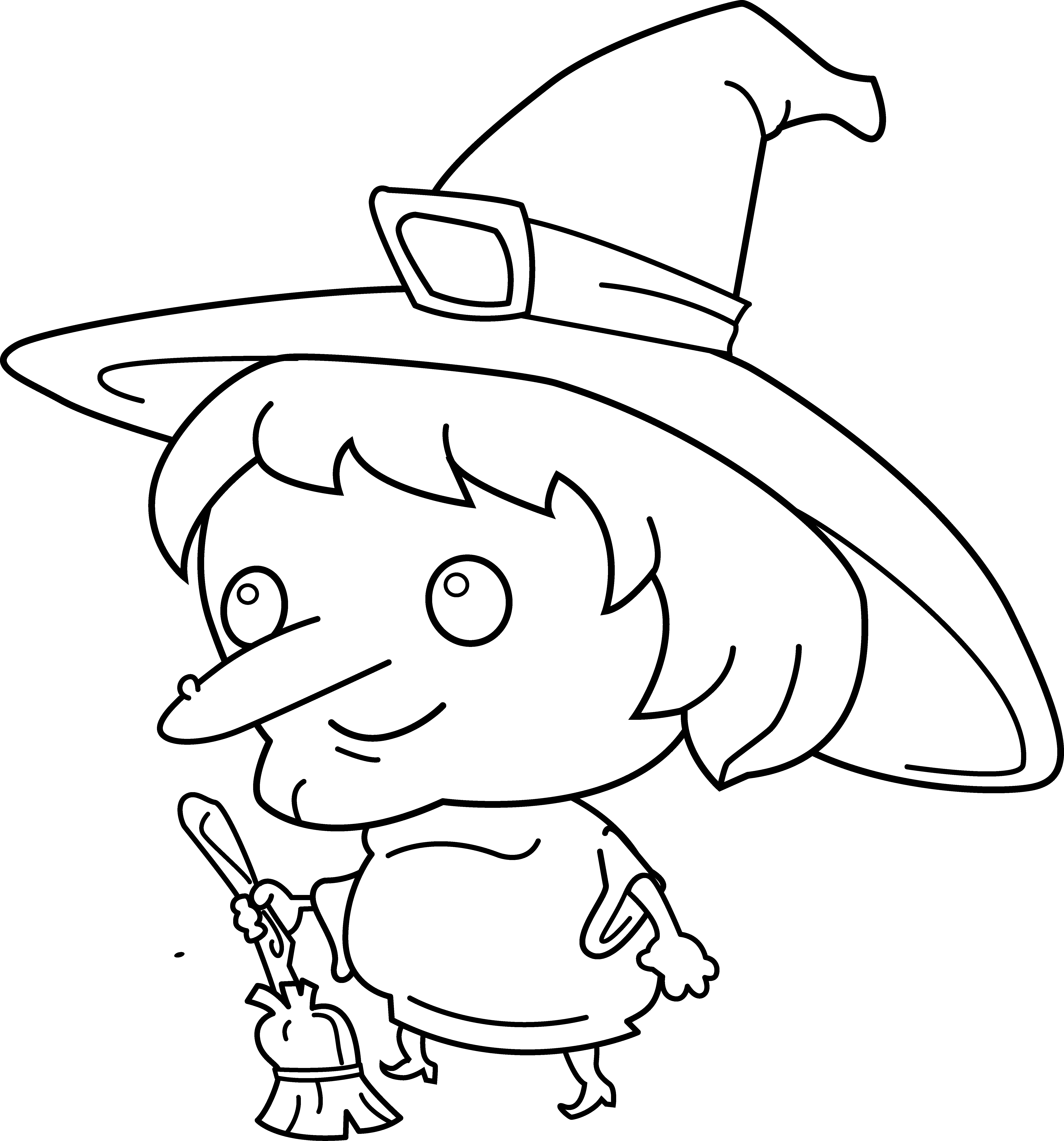 Cute Witch Coloring Page - Free Clip Art