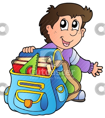 Cartoon boy with school bag stock vector