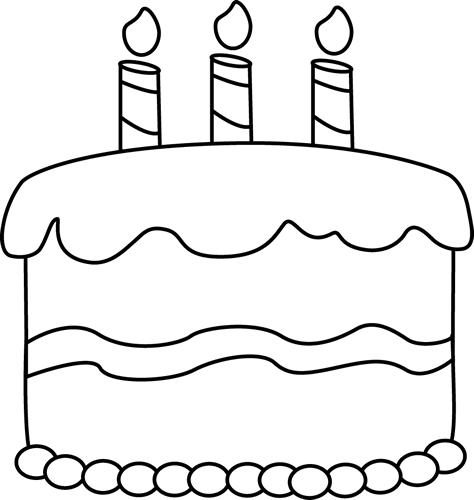 Small Black and White Birthday Cake Clip Art - Small Black and ...