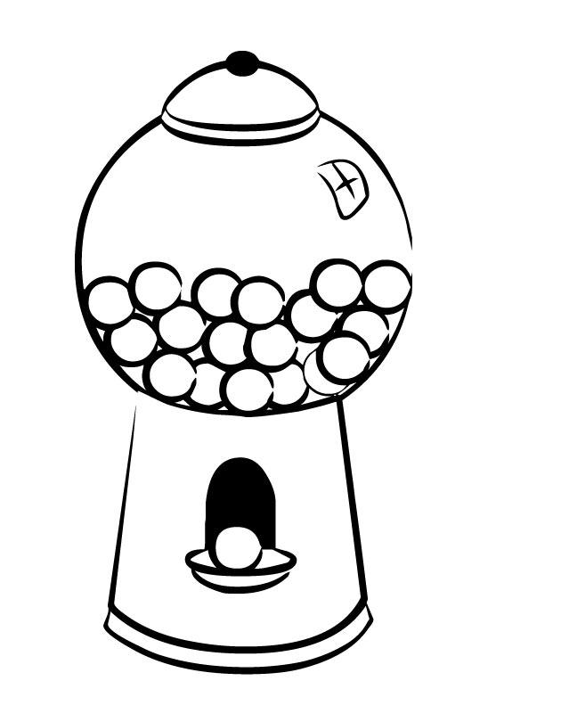 gumball machine clipart black and white