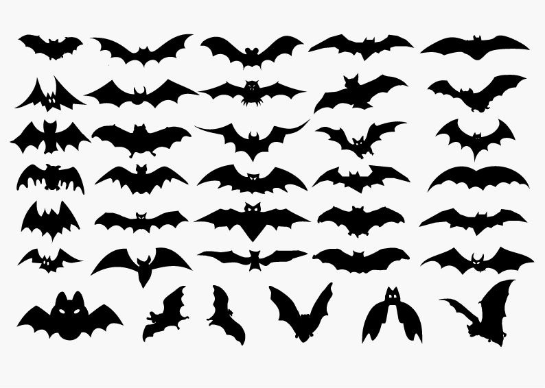Vector Set of Halloween Bat Silhouette | Free Vector Graphics ...