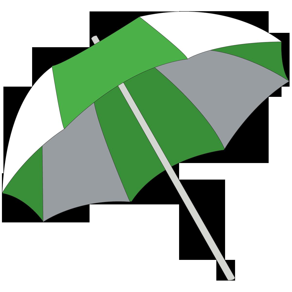 Green And White Umbrella Beach Summer Clipart