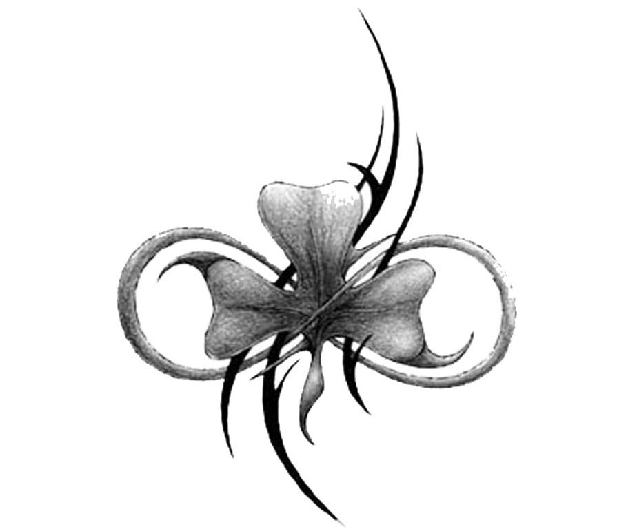 Tribal Clover Bow - Flower Tattoo Design | TattooTemptation