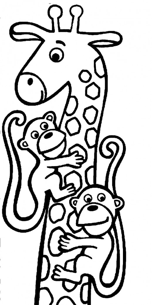Monkeys Hanging On Giraffe's Neck Coloring Pages - Animal Coloring ...