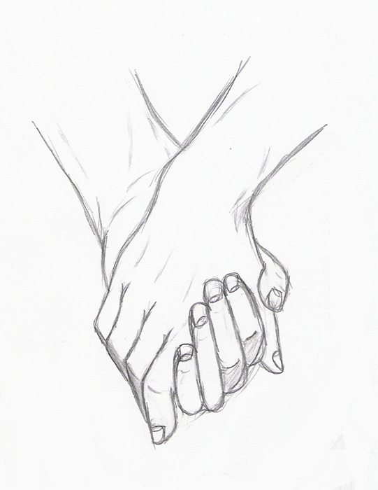 Couple Holding Hands Drawing Drawingsomeonecom Clipartsco