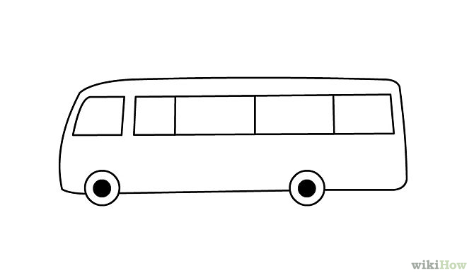 Bus Outline on Shapes Coloring Pages For Kids