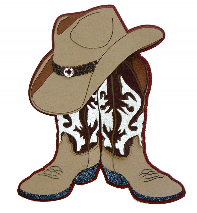 Cowboy Boots Hats Cliparts