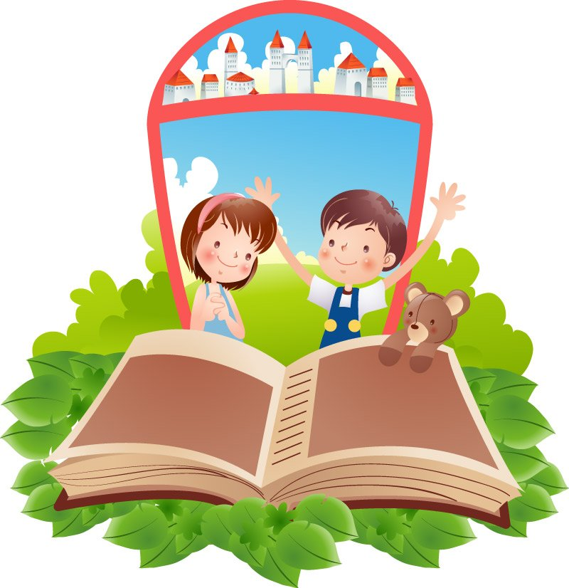 Little boys and girls in reading Vector | Vector Images - Free ...