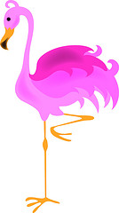 Exif | Clip Art Illustration of Pink Flamingo Standing on One Leg ...