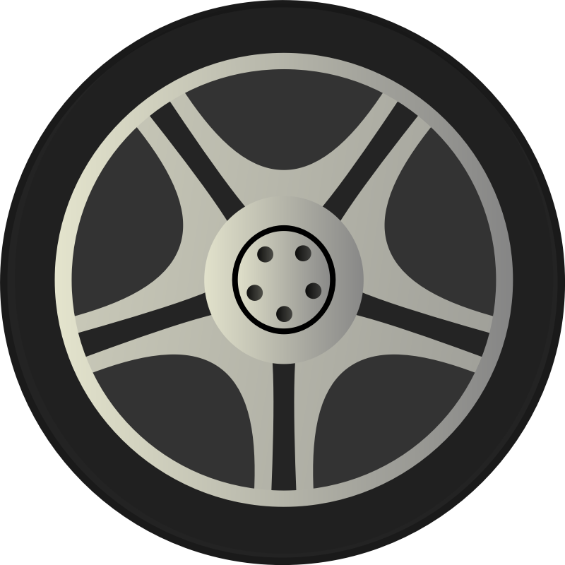Clipart - Simple Car Wheel Tire Rims Side View