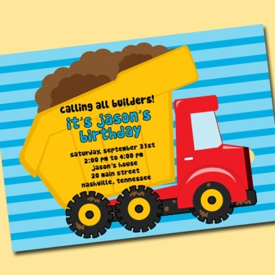 Dump Truck Single Invite 2 dump truck single invitation template ...