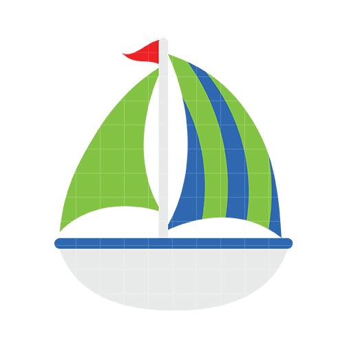 Sailboat 2 Clip Art - Quarter Clipart