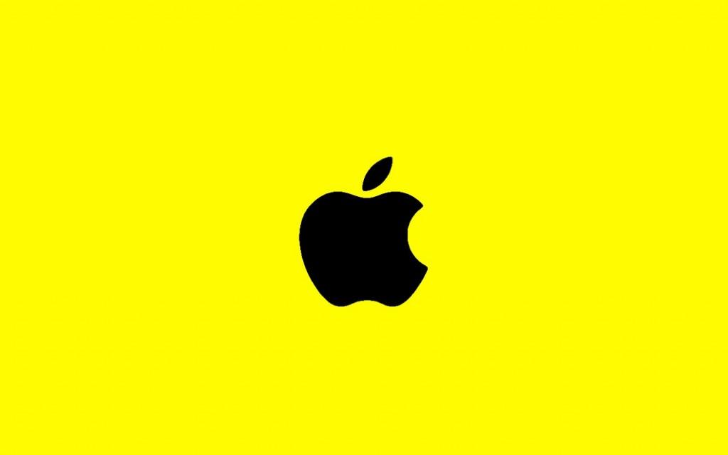 Amazing Apple Mac Yellow Background and Black Logo Apple Mac HD