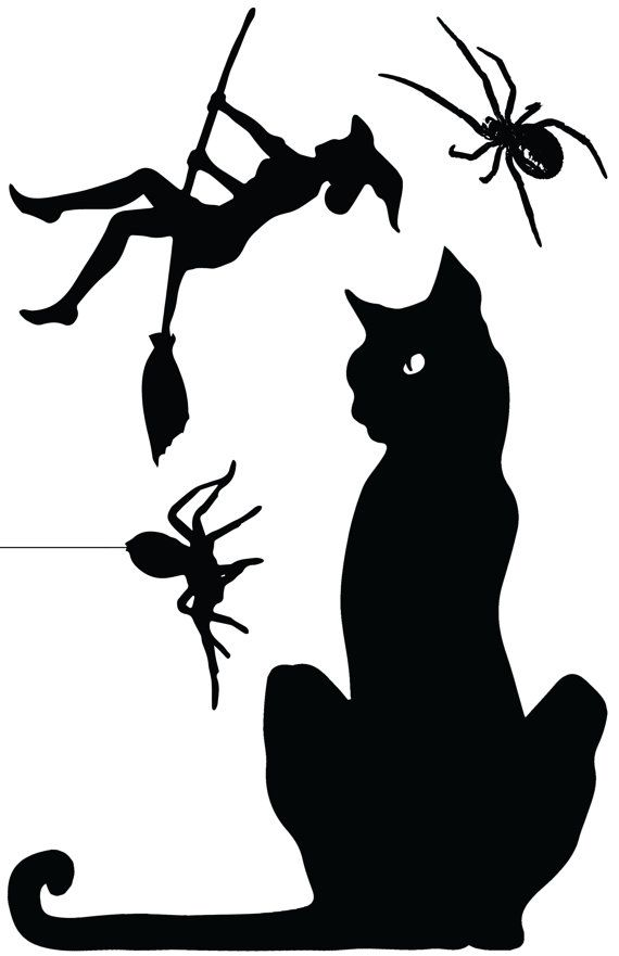 Halloween Window Cling Silhouette- Witches variety pack of three 11x1…