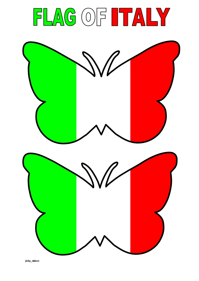 Butterfly Themed Italy Flag (