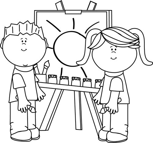 Kids Sharing Clipart Black And White Black and White Kids Painting