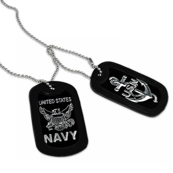 Military Dog Tag w/ US Navy Logo in Stainless Steel Bead Chain ...