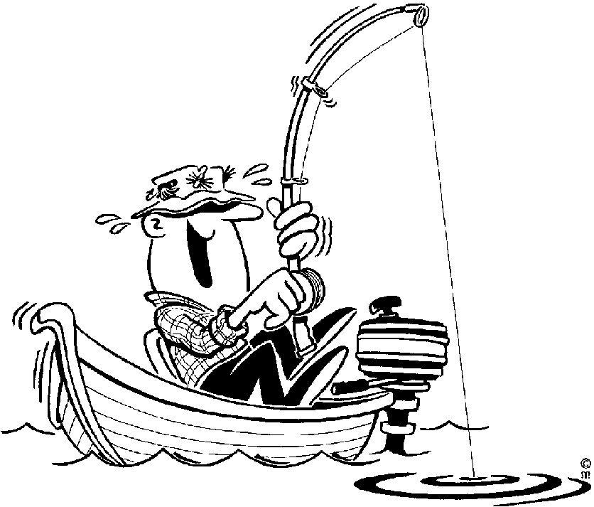 Cartoon Outboard Motors : Cartoon fishing boat black and white
