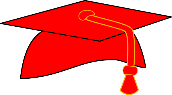 Graduation Cap - Red Fill - Black Background clip art - vector ...
