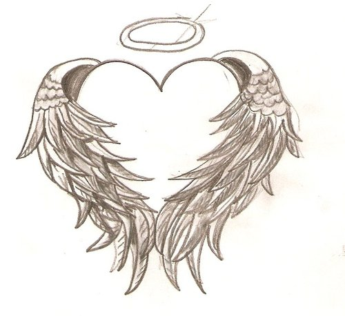 broken heart coloring pages cross with angel wings