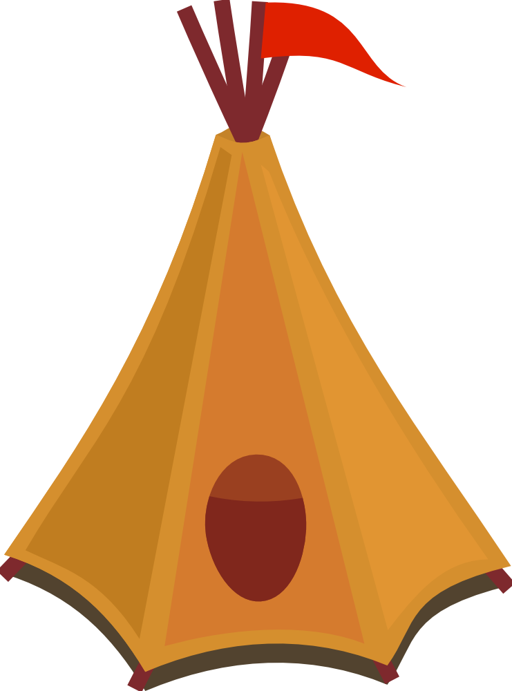 OnlineLabels Clip Art - Cartoon Tipi / Tent With Red Flag