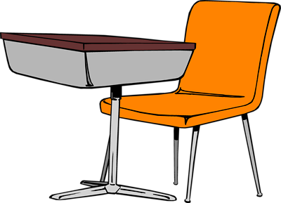 Cartoon student desk for Set de table transparent