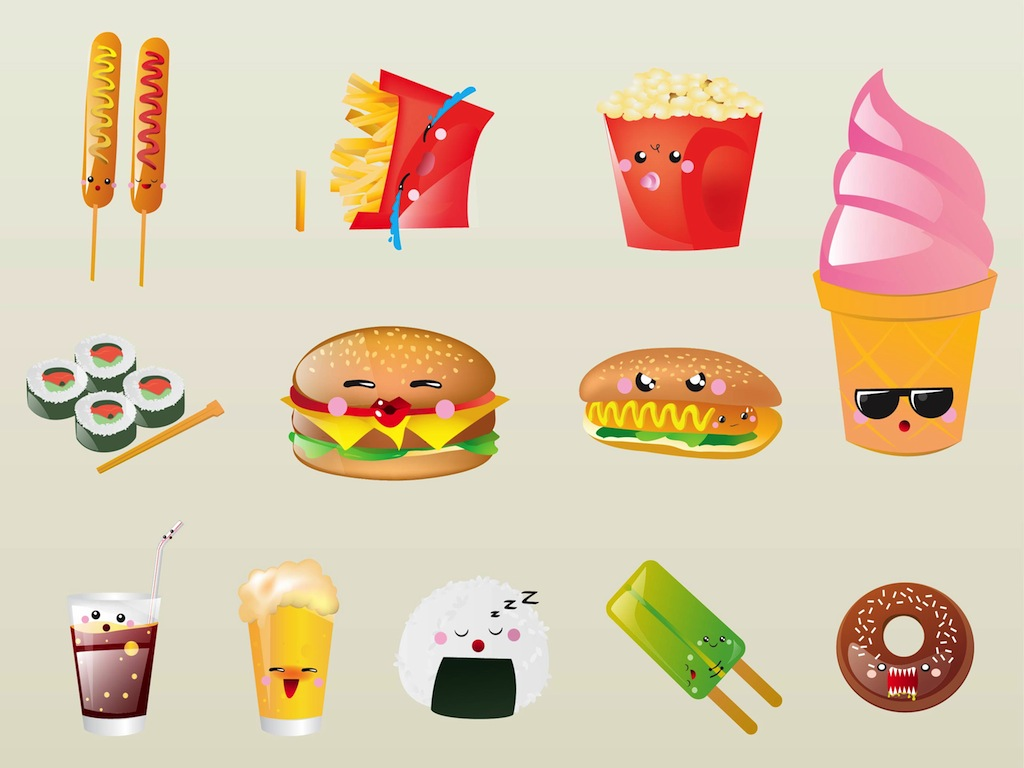 Cute Cartoon Food - Cliparts.co
